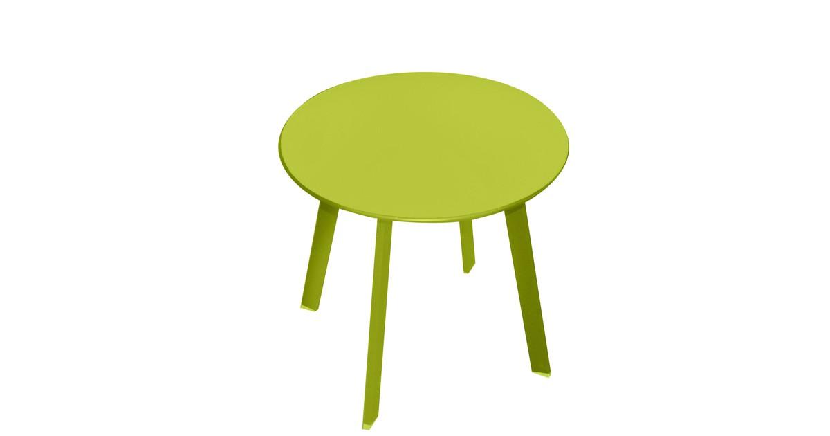 Gebor Ronde Tuintafel - Tafel voor in de tuin - Tafel voor op de Camping - Balkontafel - Metaal - Appelgroen - 50x45cm