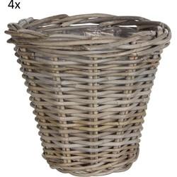Set van 4x pot rond kubu maat in cm: 24 x 27 grijs