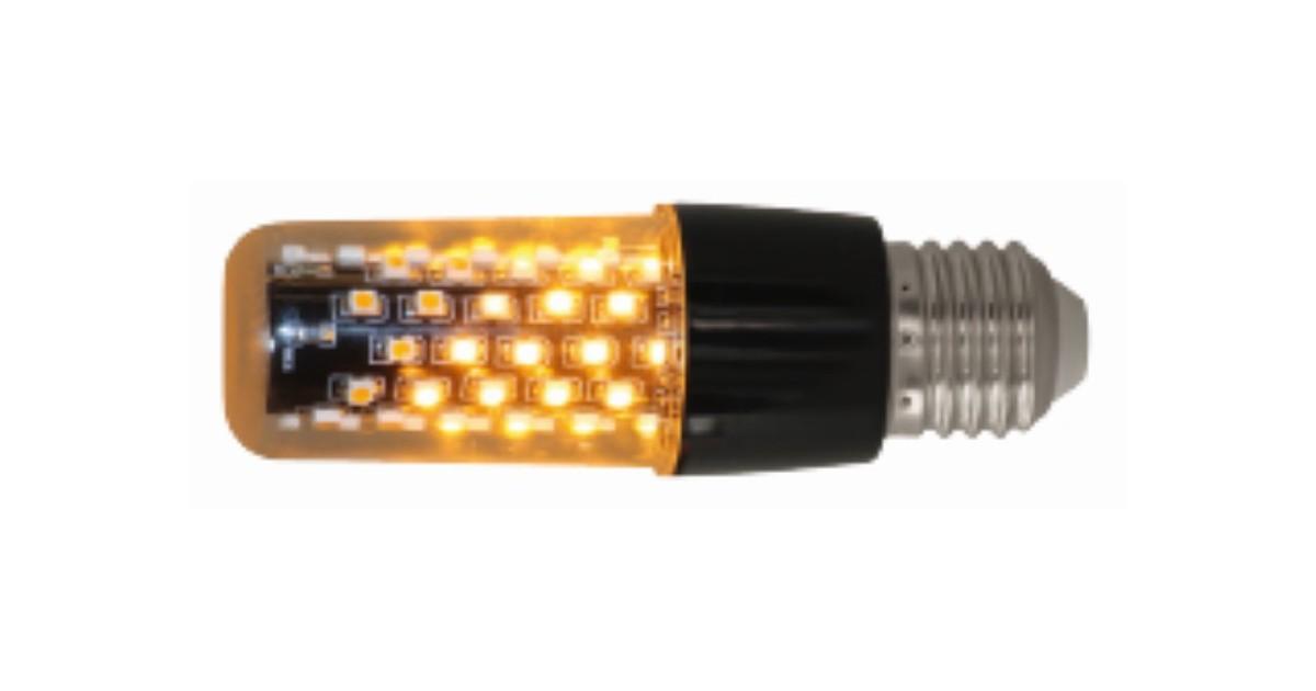 E27 Flame Light Black Clear Diffuser