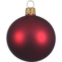 1 Glazen kerstbal mat 15 cm ossenbloed