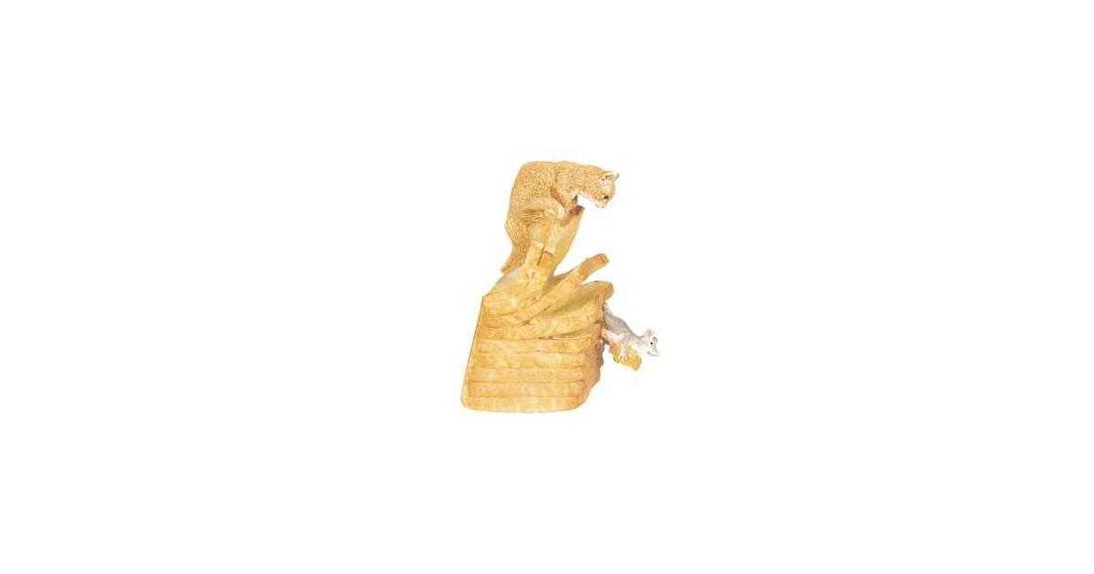 Clayre & Eef Decoratie Beeld Kat 8*4*6 cm Geel Polyresin Decoratief Figuur Decoratieve Accessoires