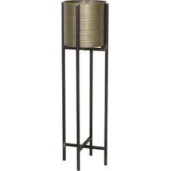 Bloempot deco CASKI op standaard - tin brons - L