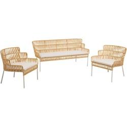 Kave Home - Set Robyn met twee fauteuils en een bank mosterd