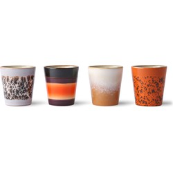 Hkliving ceramic 70's ristretto mokken set van 4