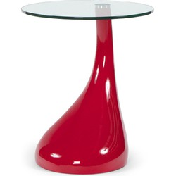 24Designs Bijzettafel Space Rood - Ø45x54 - Glazen Tafelblad