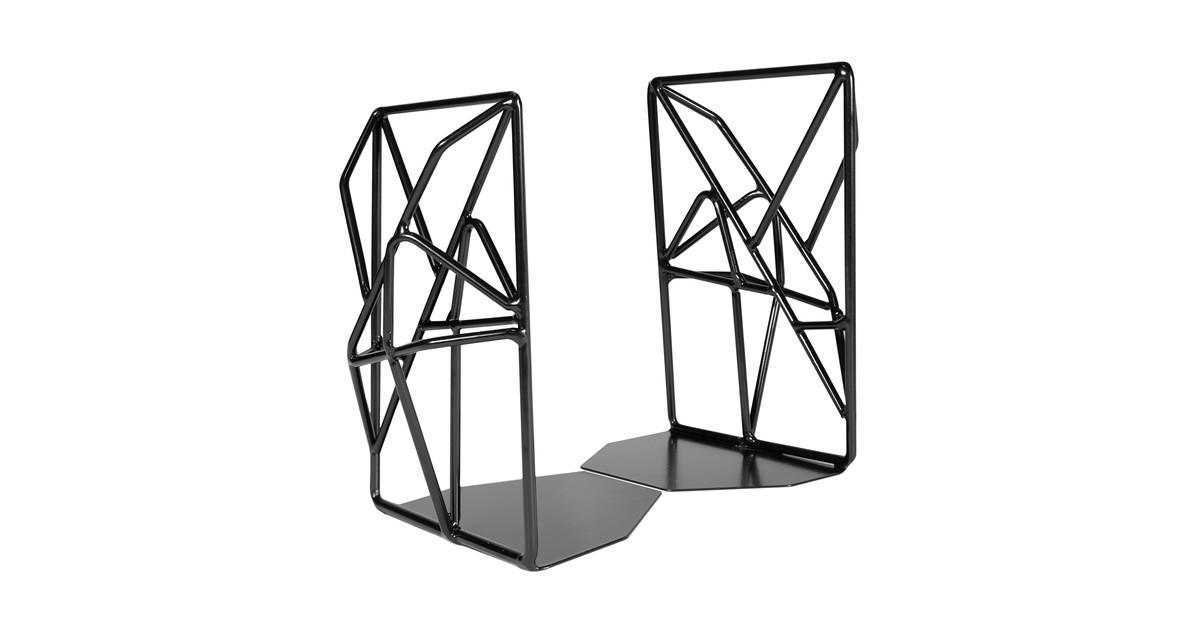 QUVIO Boekenstandaard design metaal 1 paar - Zwart