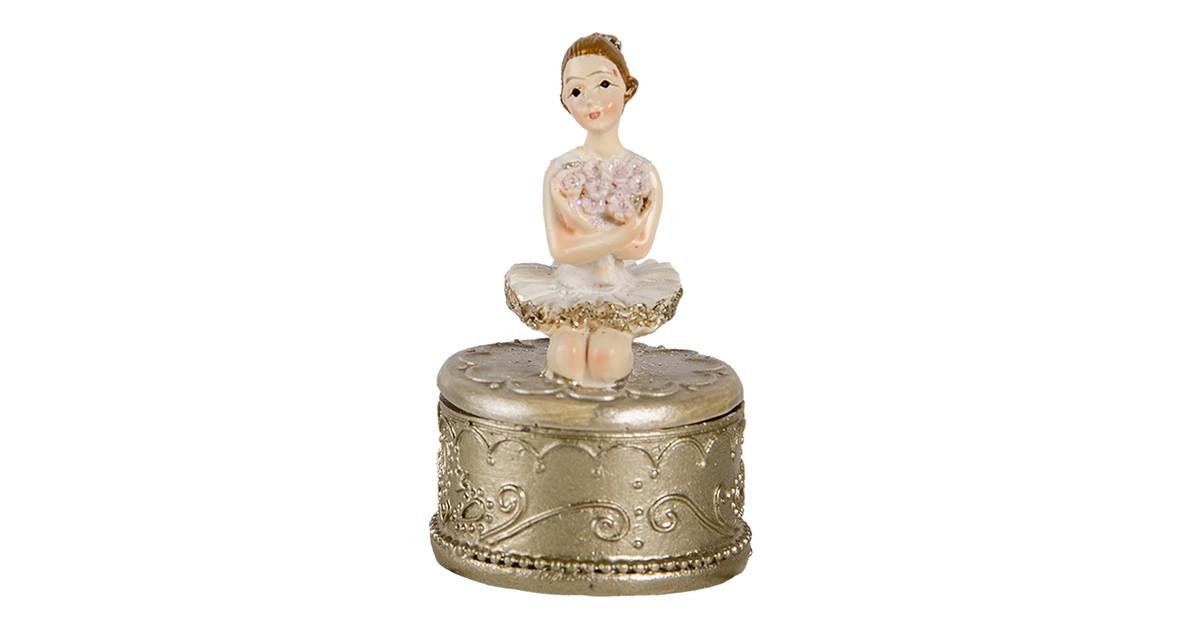 Clayre & Eef Decoratie Beeld Ballerina 4*4*6 cm Wit Polyresin Decoratief Figuur Decoratieve Accessoires