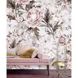 Vliesbehang - 230x160 -  bloemen pastel