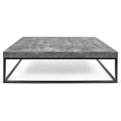 TemaHome Salontafel Petra L120xB75xH38 Cm - Grijs beton Look Tafelblad - Zwart Onderstel