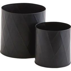 potten set harlequin zwart 13 x 13