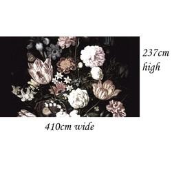 Zelfklevend - 410x237cm  - donkere bloemen