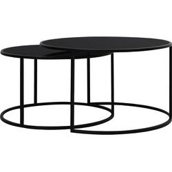 salontafel duarte glas mat zwart set 44 x ø75
