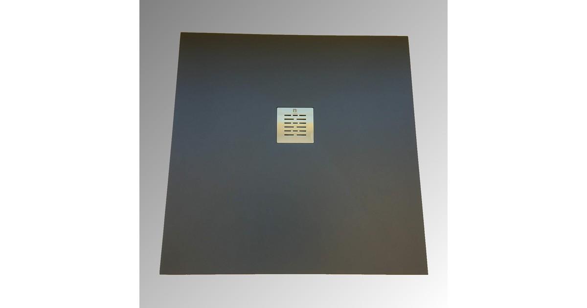 Composiet douchebak Solid Eco 100x120cm antraciet structuur egaal