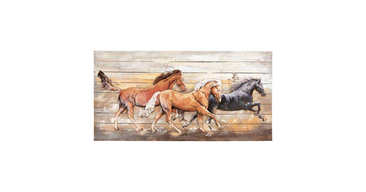 Wanddecoratie paarden | 140*70*8 cm | Multi | Ijzer | Rechthoek | Paarden | Clayre & Eef | 5WA0145