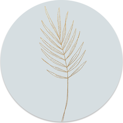 Muurcirkel klein Leaf blue Gold - Ø 40 cm