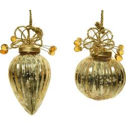 Kerstbal glas hang d5h8 cm goud a2