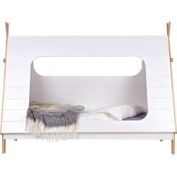 WOOOD Tipi Bed incl Lattenbodem - Grenen - Wit - 163x215x106