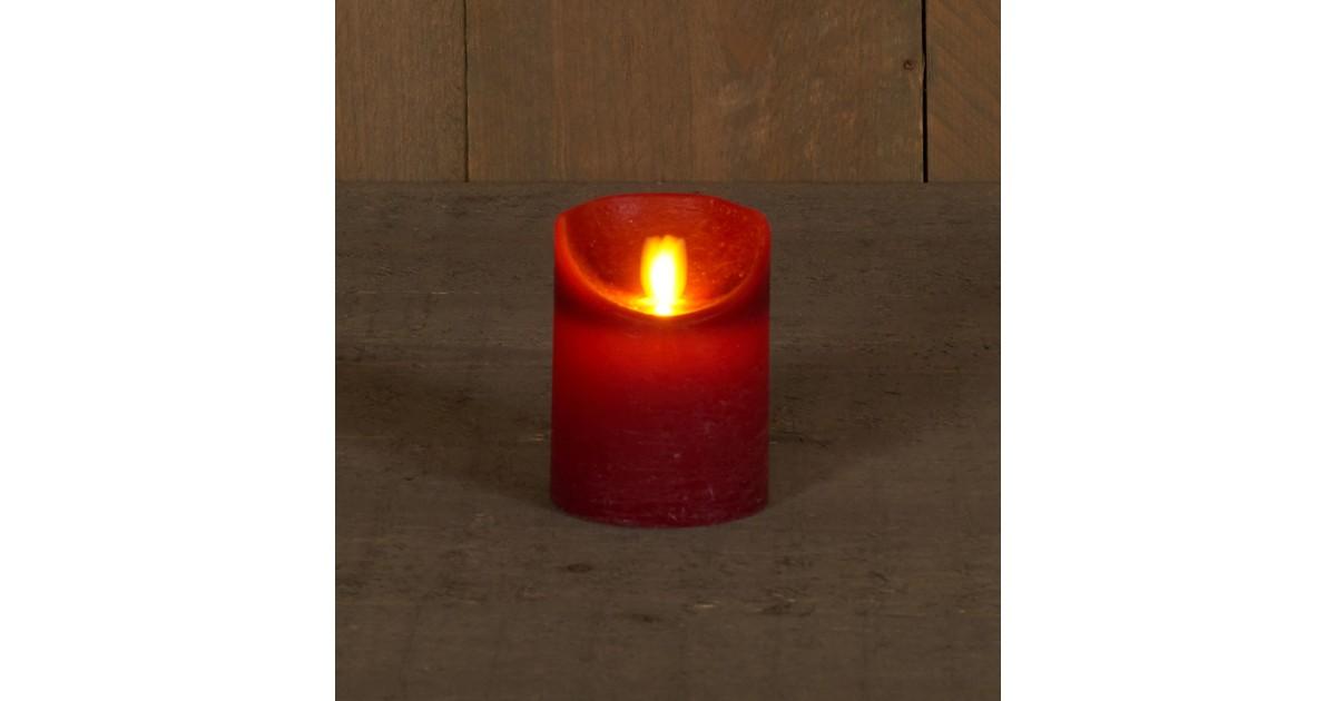 Anna's Collection B.o.t. kaars wax rustiek bewegende vlam 7.5x10cm bordeaux 3xaaa/timer