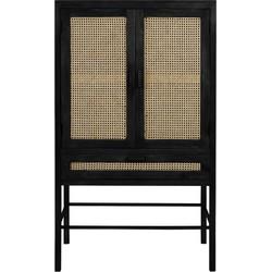 Wandkast Nipas - Zwart hout/Rotan Naturel - 90 x 45 x 160 cm