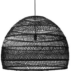 HKliving hanglamp riet handgevlochten zwart 80x80x60cm large