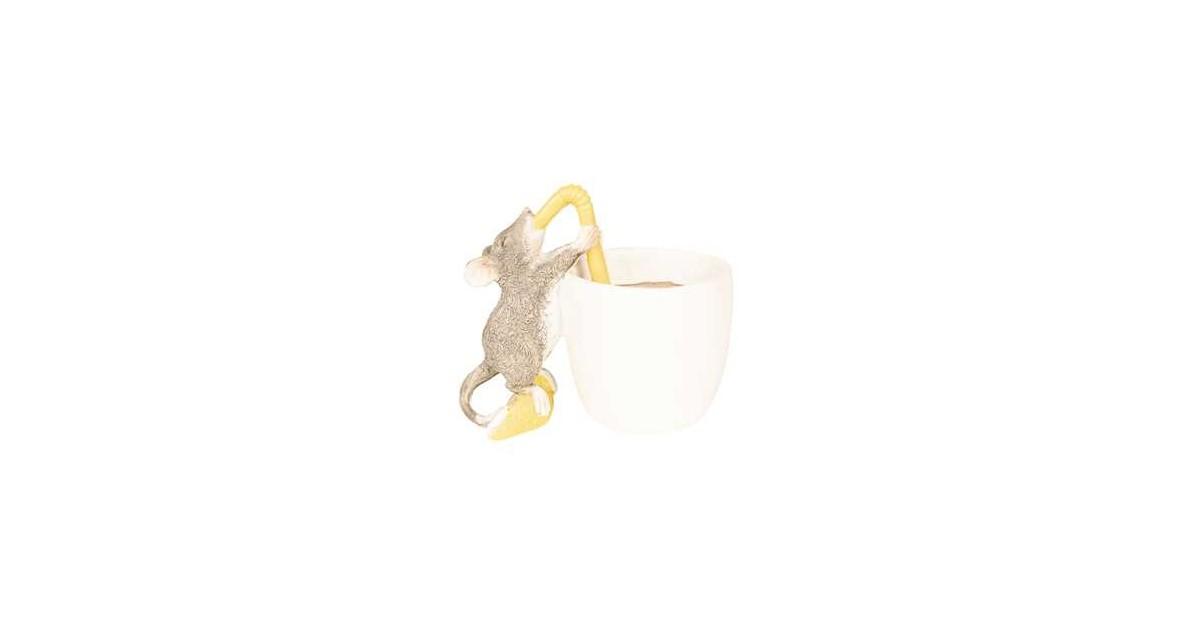 Clayre & Eef Decoratie Beeld Muis 9*6*8 cm Bruin Polyresin Decoratief Figuur Decoratieve Accessoires