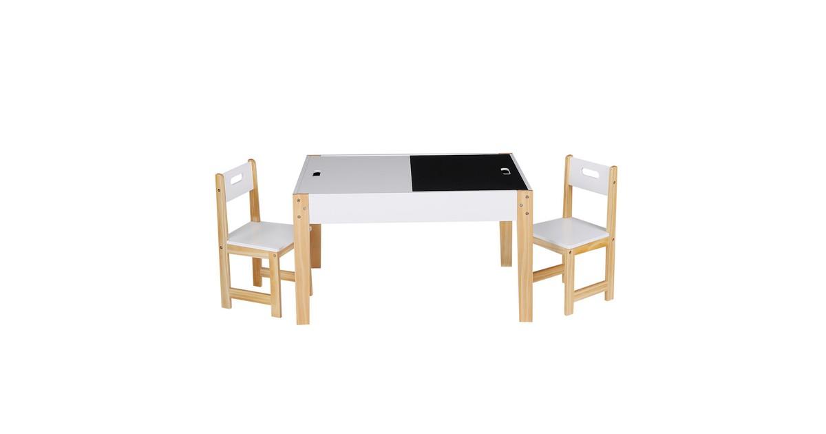 Decopatent ® Kindertafel met stoeltjes van hout 1 tafel en 2 stoelen Kinder tafel en Krijttafel Kleurtafel Speeltafel Zitgroep online kopen