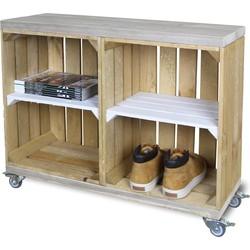 Schoenenkast - Mobiel - Oude Look - Bruin - Legplank Wit - 80x30x63 cm
