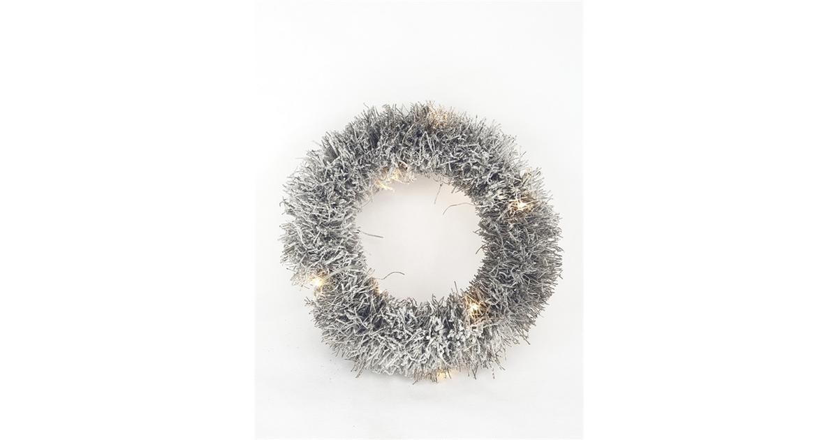 Witte krans 40 cm met ledverlichting
