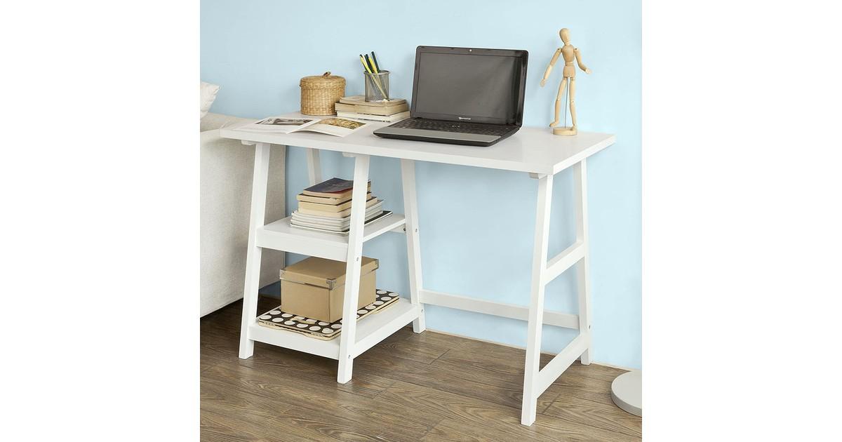 Simpletrade Bureau - Bureautafel - 2 schappen - Hout - 112x50x76 cm