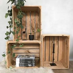Fruitkist - Nieuw - Oude Look - Bruin - Set van 3 - 50x40x30cm
