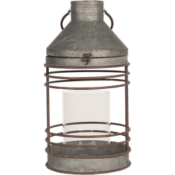 Clayre & Eef - lantaarn Ø 27*51 cm - wit - zink - rond - 6Y3676