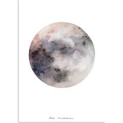 Maan - La Luna - Waterverf stijl - Interieur poster - Wanddecoratie - Grijs  - A2 poster (42x59,4cm)