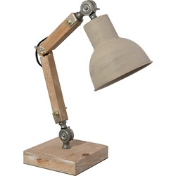 Clayre & Eef Bureaulamp 15*15*47 cm E27/max 1*60W Bruin Hout / ijzer Rond Tafellamp
