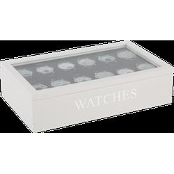 Horloge doos 12 vaks Avantgarde wit met zilveren letters