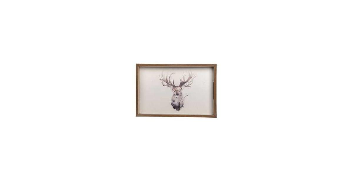 Clayre & Eef Decoratief Dienblad 30*20*4 cm Bruin Hout Rendier Rechthoek Serveerschaal